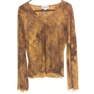 Venus brown and tan marbled long sleeve top